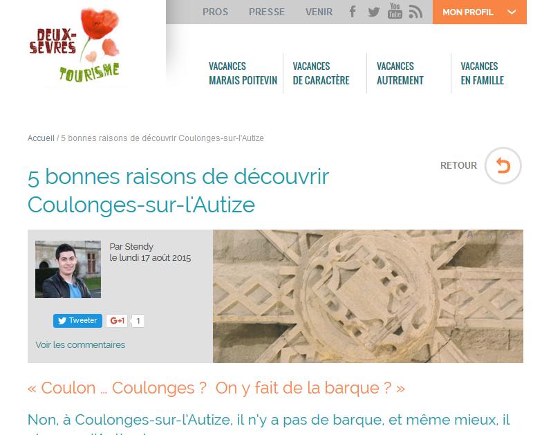 Article sur le tourisme à Coulonges sur l'Autize