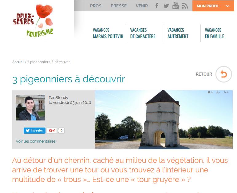 Article sur les pigeonniers des Deux-Sèvres