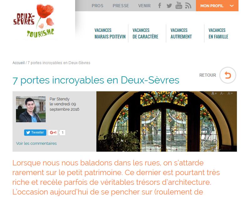 Article sur les portes des Deux-Sèvres